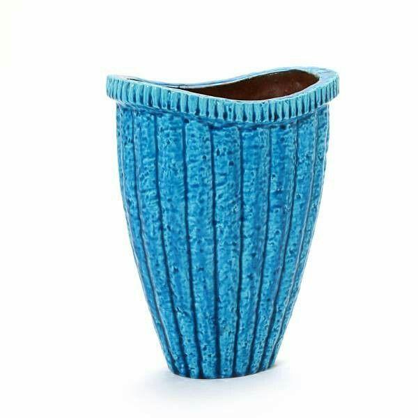 Ovale blauwe aardewerk vaas van Gunnar Nylund