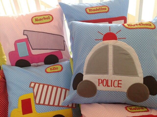 Police and truck applique pillow