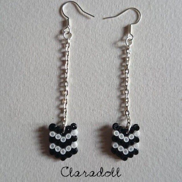 Earrings hama beads by claradoll