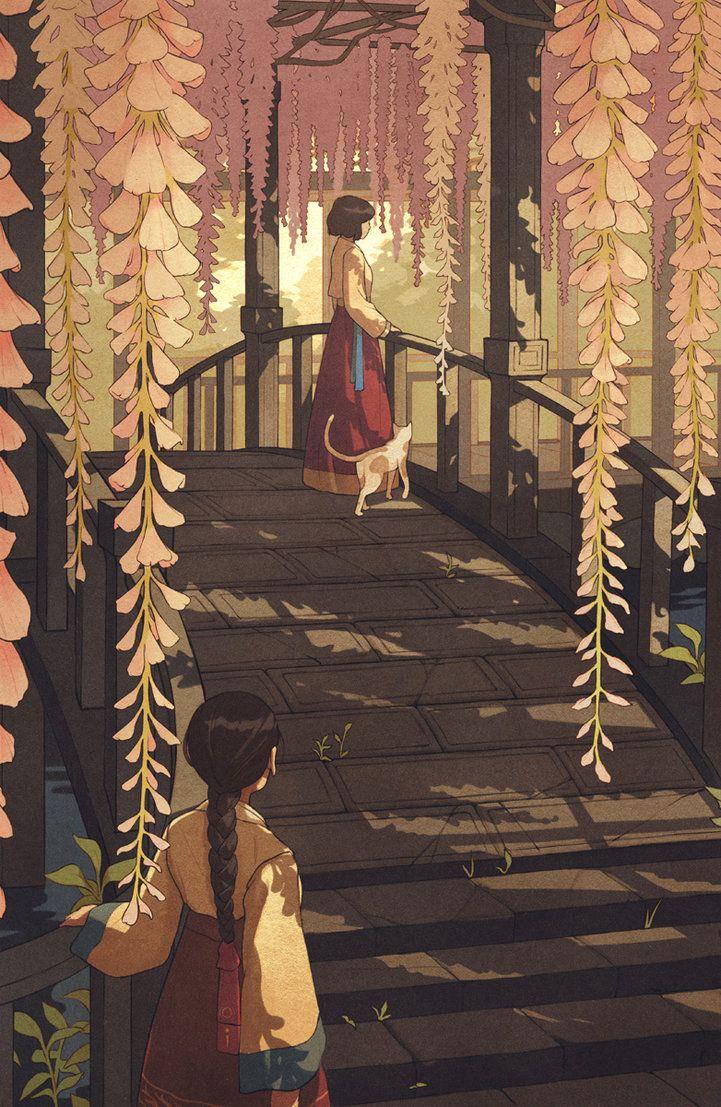 Promotional illustration for upcoming indie platformer, Miyamori. miyamorigame.com