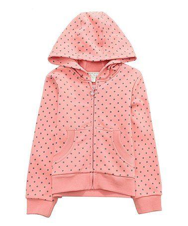 Pink Polka Dot Zip-Up Hoodie - Toddler & Girls #zulily #zulilyfinds