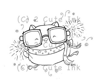 Owl Sparklers 2 Cute Ink Digital Stamp $3.00