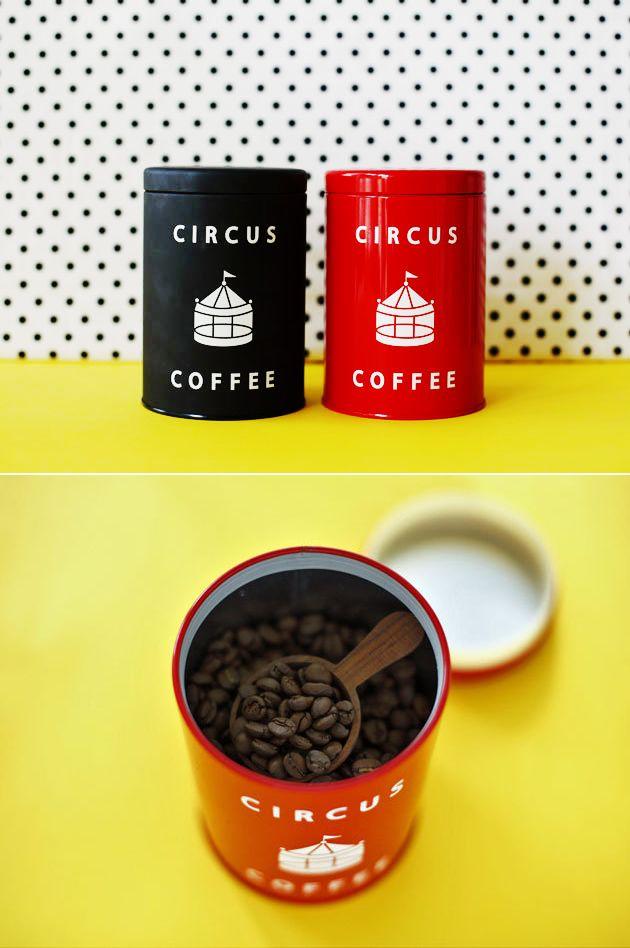 【サーカスコーヒー】オリジナルサーカス缶+サーカスブレンド/京都発、見せる収納にもぴったりなキュートなコーヒー缶 #elleatable #美パケ
