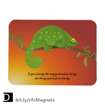 """Thumbs up! This cute Karma Chameleon promotes positive energy on this encouraging flexible magnet which states """"If you change the way you look at things, the things you look at change."""" #StudioDalio #chameleons #karmachameleon #quotesaboutlife #positivequotes #positivevibes #positivethinking #lizardart #magnetsdecor #fridgemagnet"""