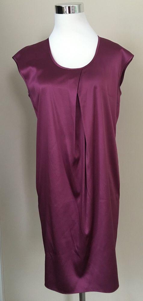 Ann Taylor Petites Dress SP Stretch Silk Maroon Sheath Shiny Shirt Sleeveless #AnnTaylor #Sheath #Cocktail