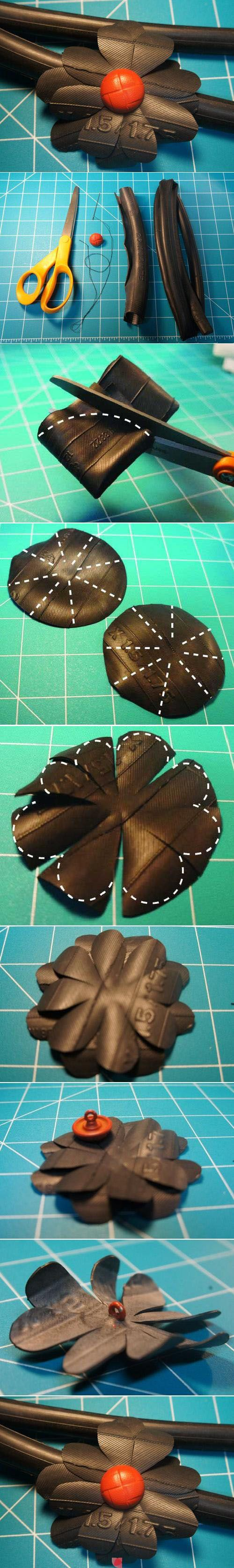 how to cut flowers from #bicycle #innertube