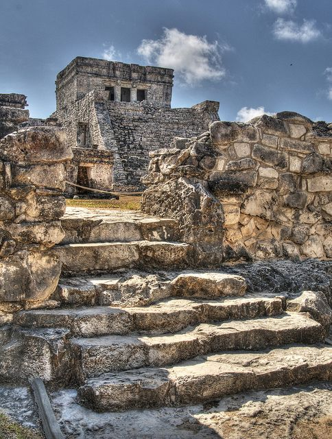 Ruins at Tulum Maya temple. There is no evidence of human sacrifice at this temple on the coast. They built it here for a breath of fresh air.