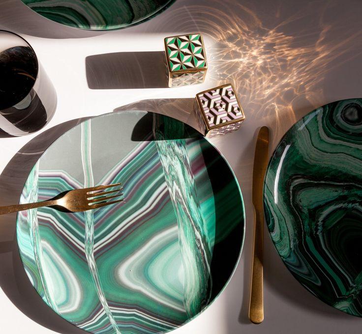 Malachite Dinner Plate Set by elise flashman