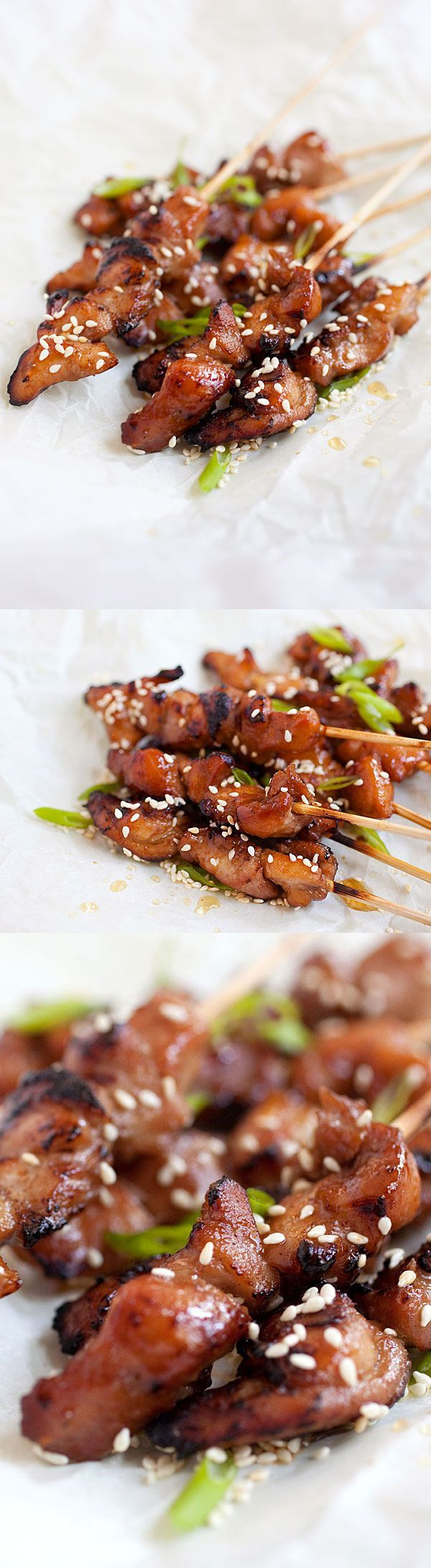 Honey Sesame Chicken Skewers – sticky sweet and savory chicken on skewers. So easy to make, so delicious that you won't stop eating | rasamalaysia.com