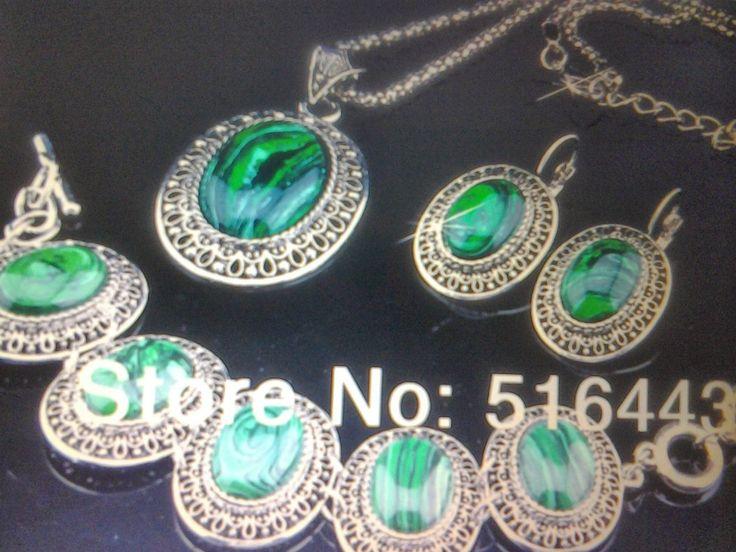 Комплект из 3 предметов (Серьги, Браслет, Ожерелье) — Малахит природный камень в дар (Москва). Дару~дар