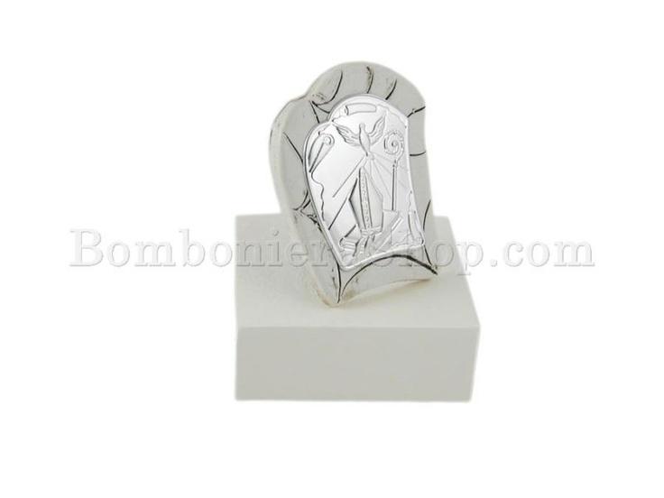 Soprammobile piccolo in polvere di marmo ricomposto con icona laminato argento per Santa Cresima