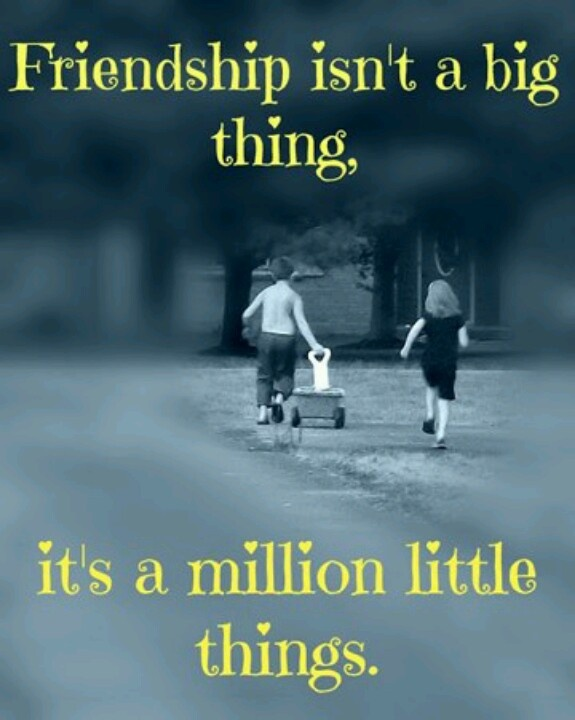 Friendship isn't a big thing, it's a million little things.