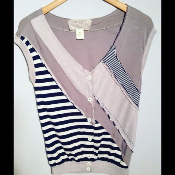 Nick & Me - Anthropologie Nautical Vest Adorable navy and gray striped , nautical style vest. Excellent pre-loved condition! 100% rayon. Anthropologie Jackets & Coats Vests