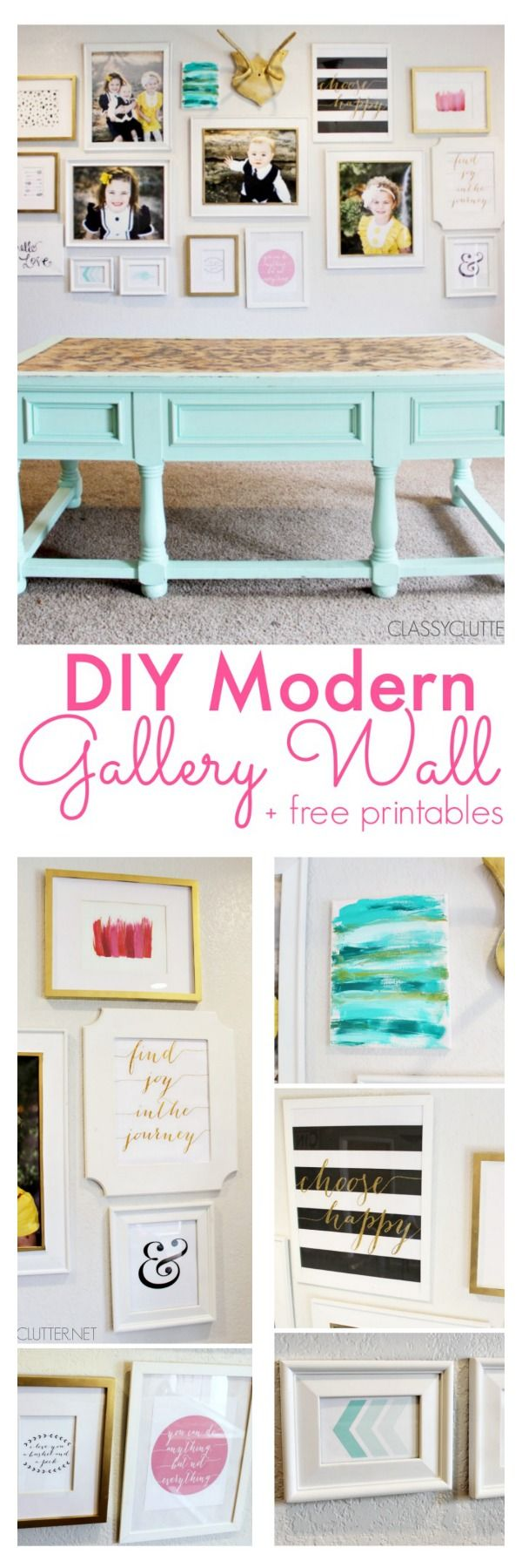 A fun Modern Gallery wall that can change any room to fabulous! Click for more details