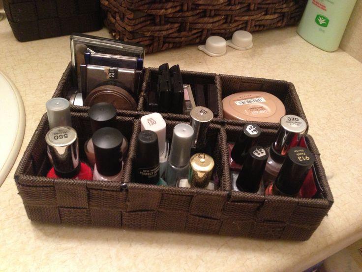Dollarama Baskets To Organize Makeup And Nail Polish