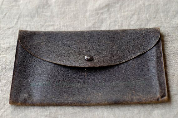 antique wallet / dark tan brown pouch / french art by BOULOTDODO