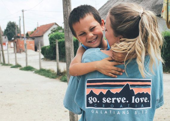 These shirts are sold to benefit Gospel on The Go's Bright Futures program located in Zagreb, Croatia. This program serves to provide an educational support system to the children of the Roma culture.