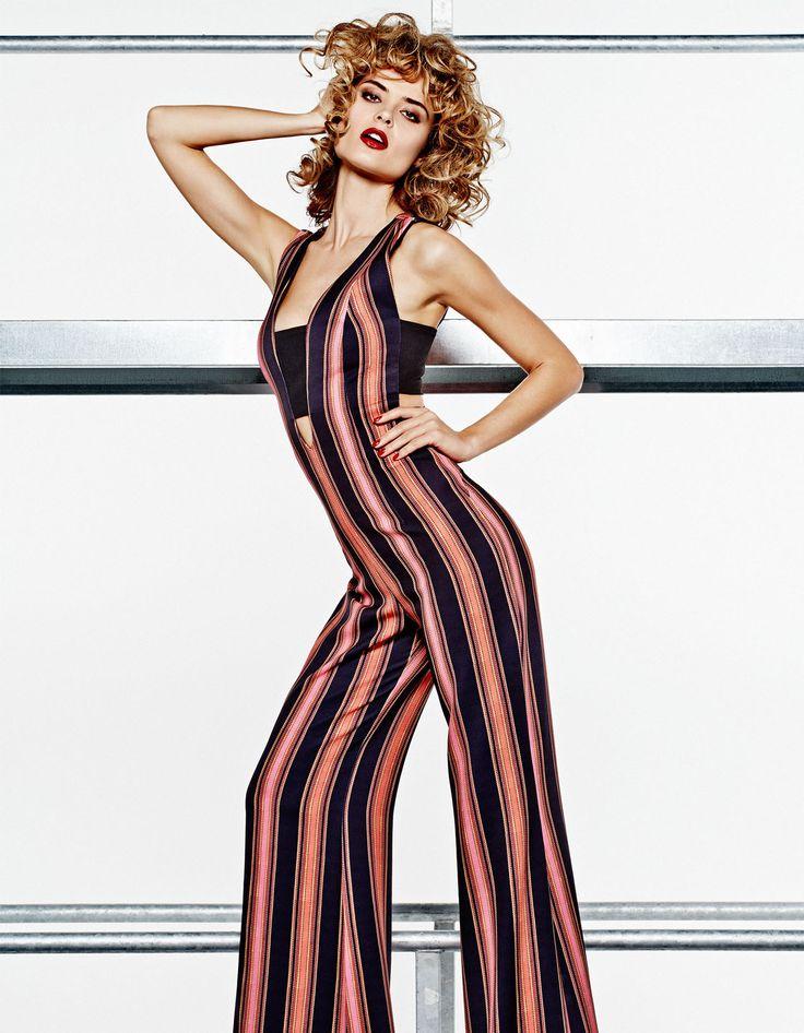 colourful stripe flair jumpsuit