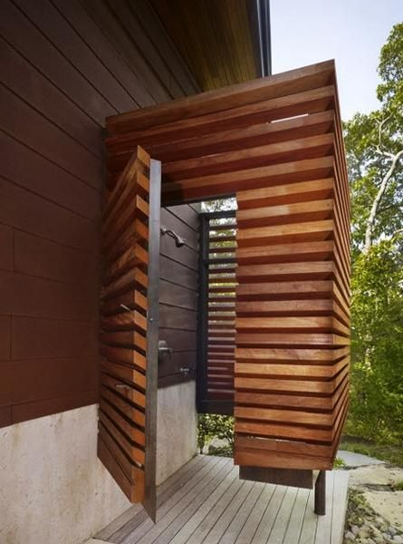 outdoor shower design ideas, metal and wooden shower enclosure