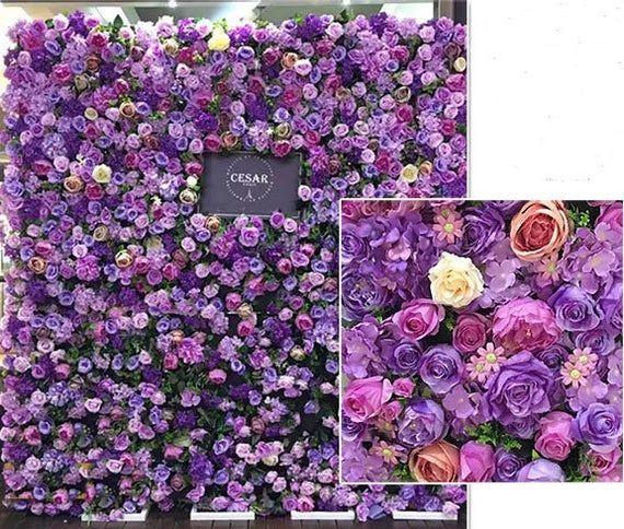 Purple Flower Wall Backdrop For Wedding Arrangement Etsy In 2020 Flower Wall Backdrop Flower Wall Wedding Wall Backdrops