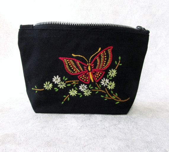 Blossom like a butterfly!! #handembroidery #butterfly #needlework #butterflyembroidery #makeupbag #handmade #coinpurse #pouch