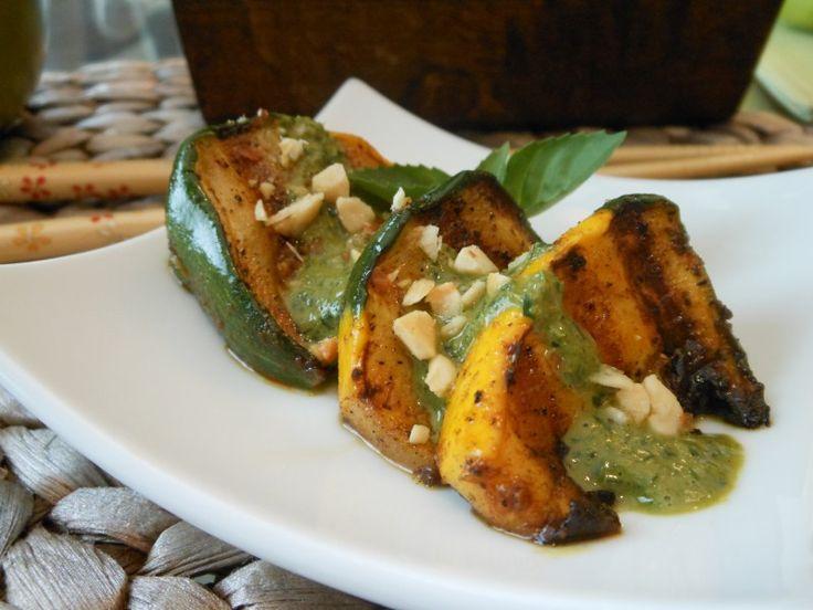 Vegan Grilled Pattypan Squash with Thai Basil Pesto