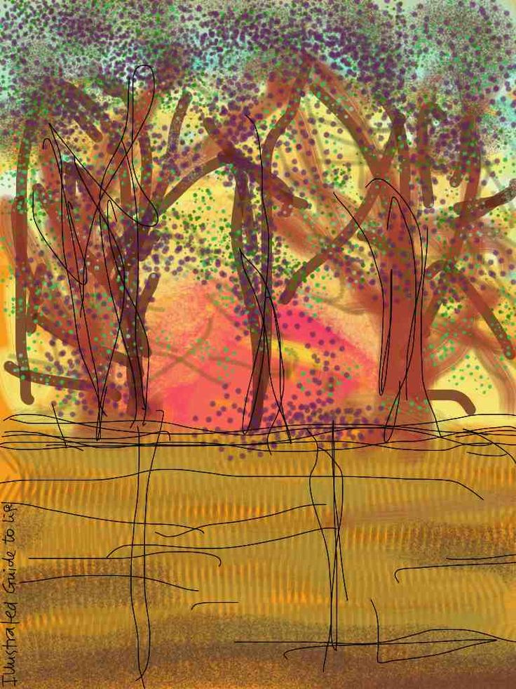 Mindfulness training field report: Starting the day* * *  Fed up with starting the day with dread of doing. Instead: being; and a whole day before me http://illustratedguidetolife.com/2014/04/10/mindfulness-starting-the-day/ Ipad painting illustration: Sunrise over fence through trees