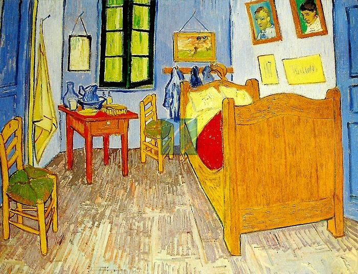 반 고흐 '반 고흐의 방'.  얀 반 에이크의 '아르놀피니 부부의 초상'의 방과 생김새가 비슷한 것 같다. 물론 훨씬 다락방 같은 느낌이다. 그래도 지금 내 방 보다는 넓겠지. 아무래도 넓다란 공간에 간소하게 꾸민 방이 오래 살기에 질리지 않을 것 같다.