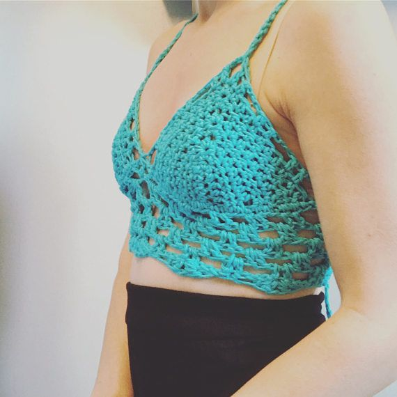 I N F O:  Step up your beach game this summer with our new hand crochet Hadley Paige Designs aquamarine womens bikini top/bralette. Laces down the back and ties at bottom (mid back). Features scalloped trim along the bottom and peekaboo torso section.  ----- S I Z E S:  Custom made so you choose size small-large & cup size A-D. You may send in custom chest circumference in text box via checkout for a better customized fit.  ----- C O L O R:  aquamarine  ----- M A T E R I A L:  This t...