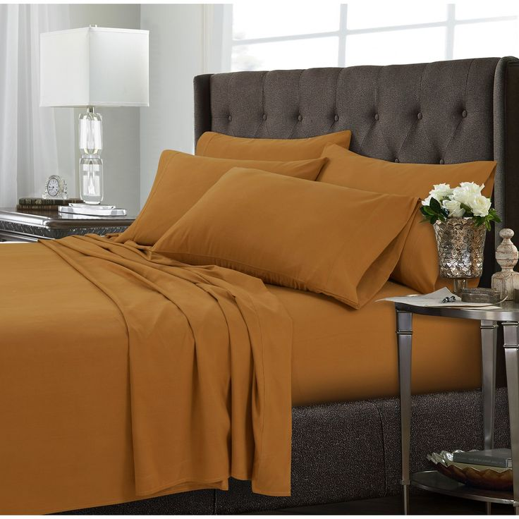 microfiber extra deep pocket sheet set california king orange tribeca living yellow