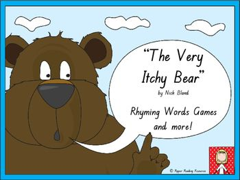 "Four rhyming words games are included based on the rhyming words in ""The Very Itchy Bear"" by Nick Bland.  This is a hands-on activity which is terrific for literacy rotations or fast finishers.Please note that you will need a copy of the picture book to make the best use of this resource.There are three different 'twists' in one of the rhyming words games using the ""You've been bitten"" flea cards for players to either lose their cards, miss a go or have another turn (this is up to the…"