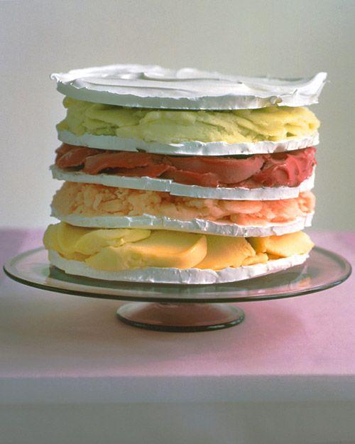Rainbow Sorbet Meringue Cake