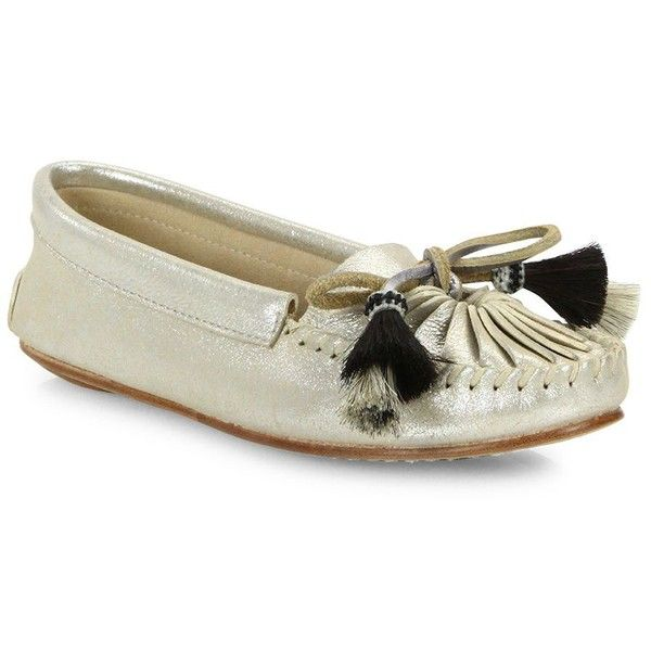 Loeffler Randall Lois Tassel Horse-Hair & Metallic Suede Moccasins (66.665 CLP) ❤ liked on Polyvore featuring shoes, loafers, silver, suede leather shoes, moccasin shoes, mocassin shoes, loeffler randall shoes and pull on shoes