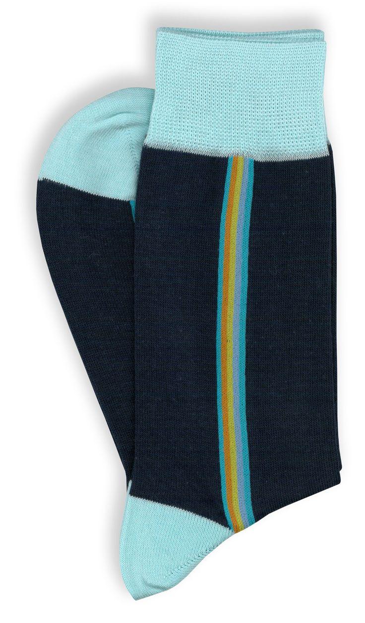4 paia di calze corte da uomo in cotone, riga multicolor