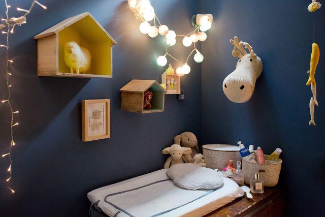 Nursery, night Blue wall + Colorful decor