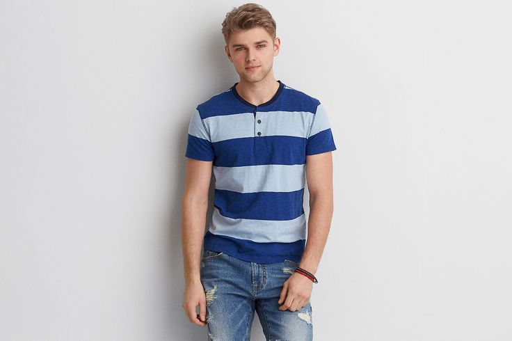 AEO Stripe Henley, Blue | American Eagle Outfitters