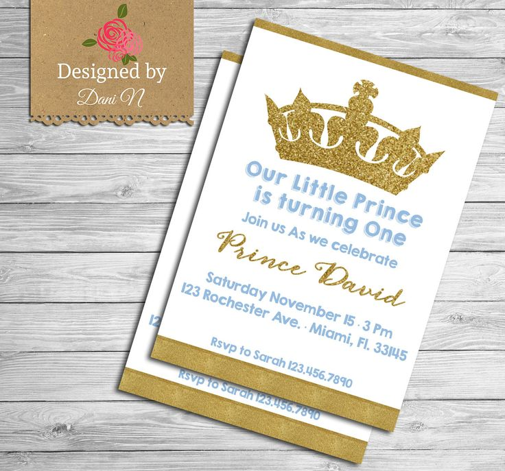 New to DesignedbyDaniN on Etsy: Prince Birthday Party INVITATION glitter sparkle printable invite crown blue and gold first birthday Any Age Birthday Party (15.00 USD)