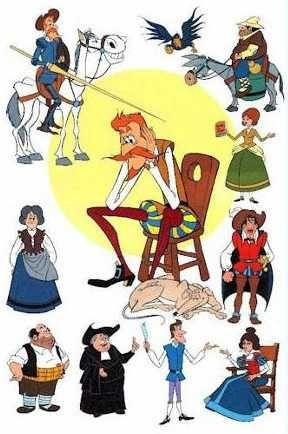 Los personajes primeros: Don Quijote, Sancho Panza, Rucinante y Rucio. Los personajes secundarios: Sobrina de D. Quijote, Dorotea, el Vizcaino, el barbero, el cura, el ventero, perro Galgo, Maritornes y Dulcinea del Toboso.