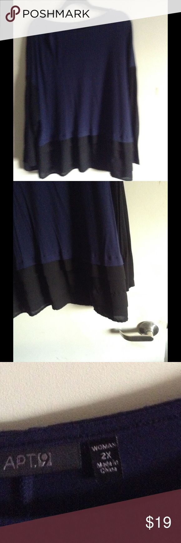 Navy & Black Beauty This top is really beautiful with navy polyester spandex material gives it a nice drape with black layered chiffon on the bottom. Long sleeved, in excellent used condition Apt. 9 Tops