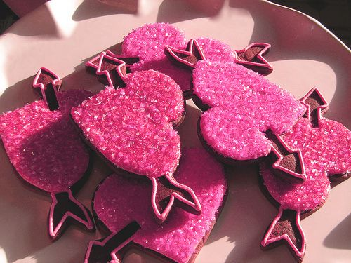 VALENTINE'S pink heart shaped cookies - food - sweets