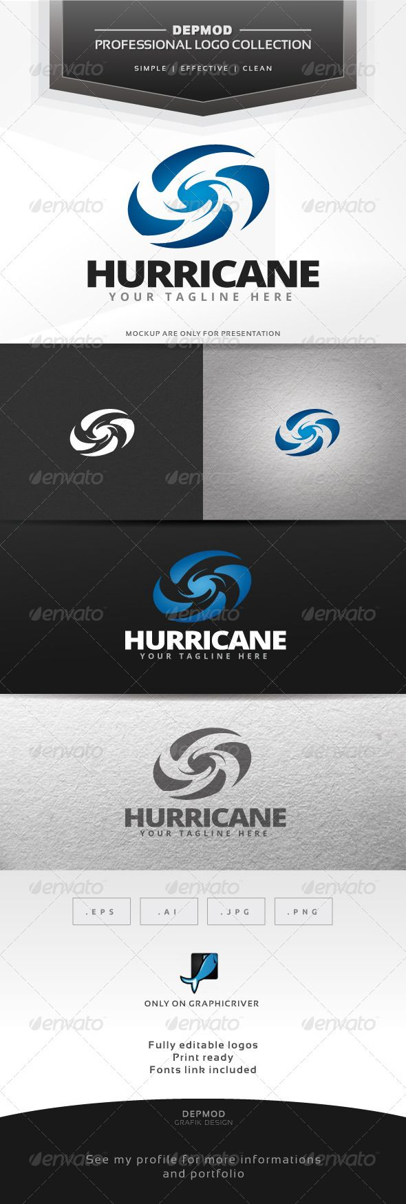 Hurricane Logo — Vector EPS #tornado #web • Available here → https://graphicriver.net/item/hurricane-logo/7014192?ref=pxcr