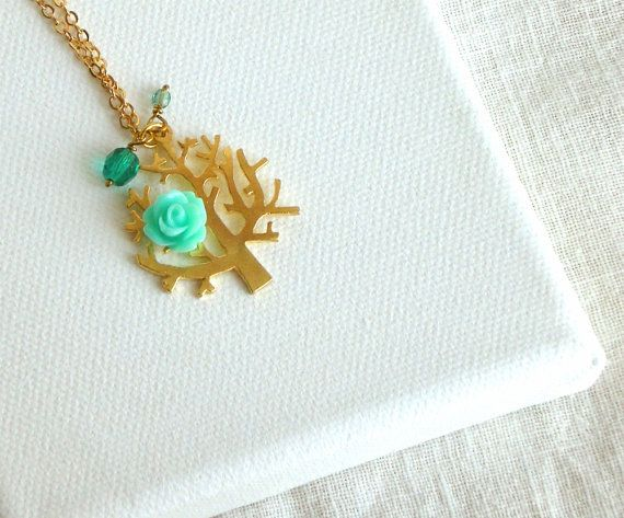"Flower tree necklace ""The first bloom"" by PetiteFraise, €12.00 #etsy #handmade #jewelry #spring #mint"