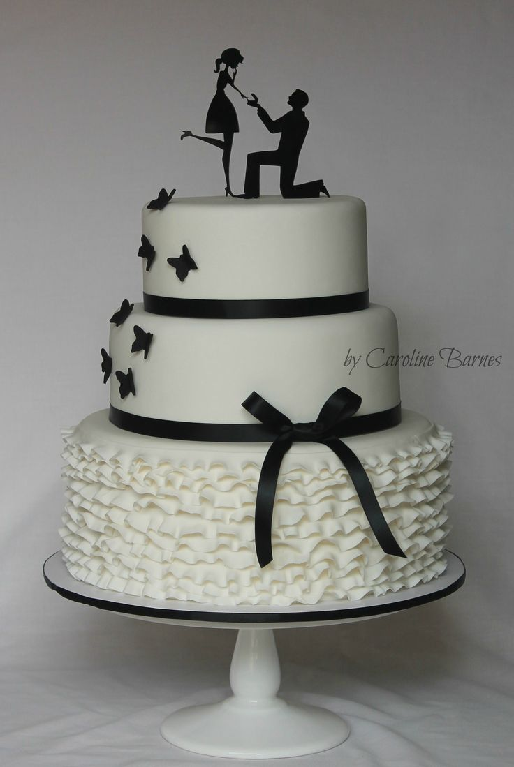 Black and white silhouette engagement cake - with ruffles, butterflies and 'On…