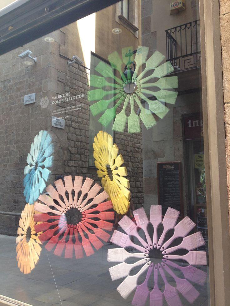 Barcelona window display #paintbrushes