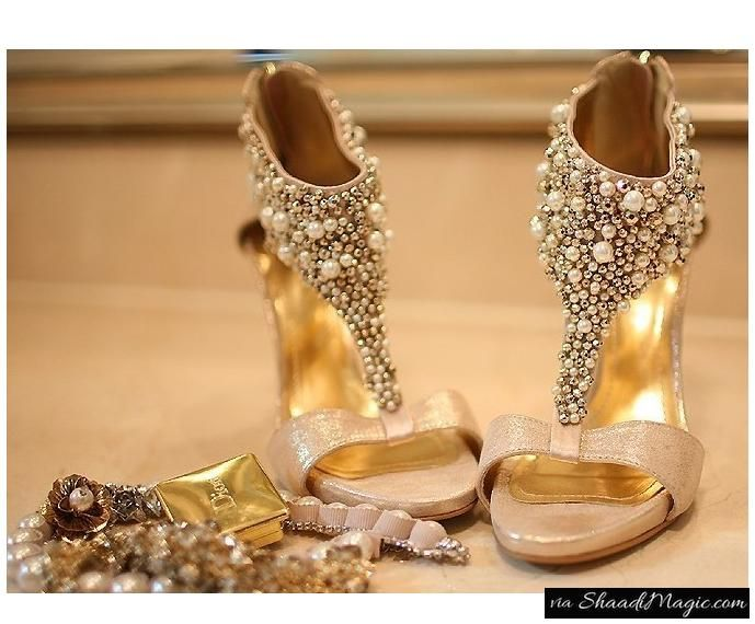 Bejeweled Wedges Sandals For Your Comfort.  After carrying the heavy lehenga choli or the traditional drape of saree with the jewelry added, it becomes one challenging task to maintain it for the entire wedding day. So, wedges sandals are the best to your comfort that you can get it in fashionable designs.    http://shaadimagic.com/online-wedding-planning-magazine/styles-wedding-planning-2/footwear-for-legs-look-leaner-sexy/