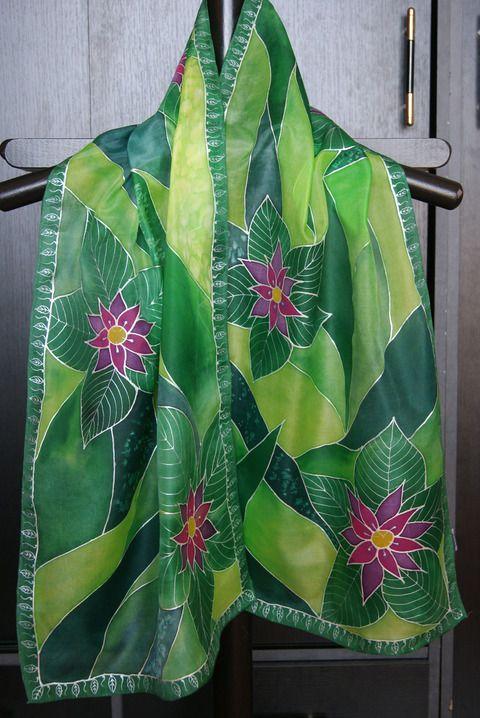 Zöld leveles sál lila virágokkal, Ruha, divat, cipő, Kendő, sál, sapka, kesztyű, Sál, Meska