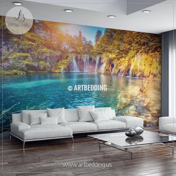 Beautiful Lake In Croatia Wall Mural Self Adhesive Peel Stick Wall Mural Wall Murals Mural Garden Wall Decor