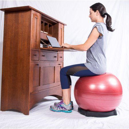 Isokinetics Exercise Ball Chair Seat - 75 cm Black Ball - for Height 6'2 inch to 6'8 inch, Ball Base, and Pump