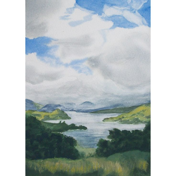 From the Head of Loch Awe, Scotland.  11x7 in. Gouache and transparent watercolour.
