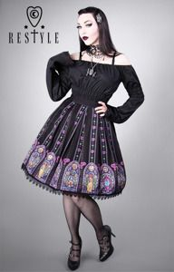"""STAINED GLASS"" gothic lolita skirt, Beauty and the Beast print"